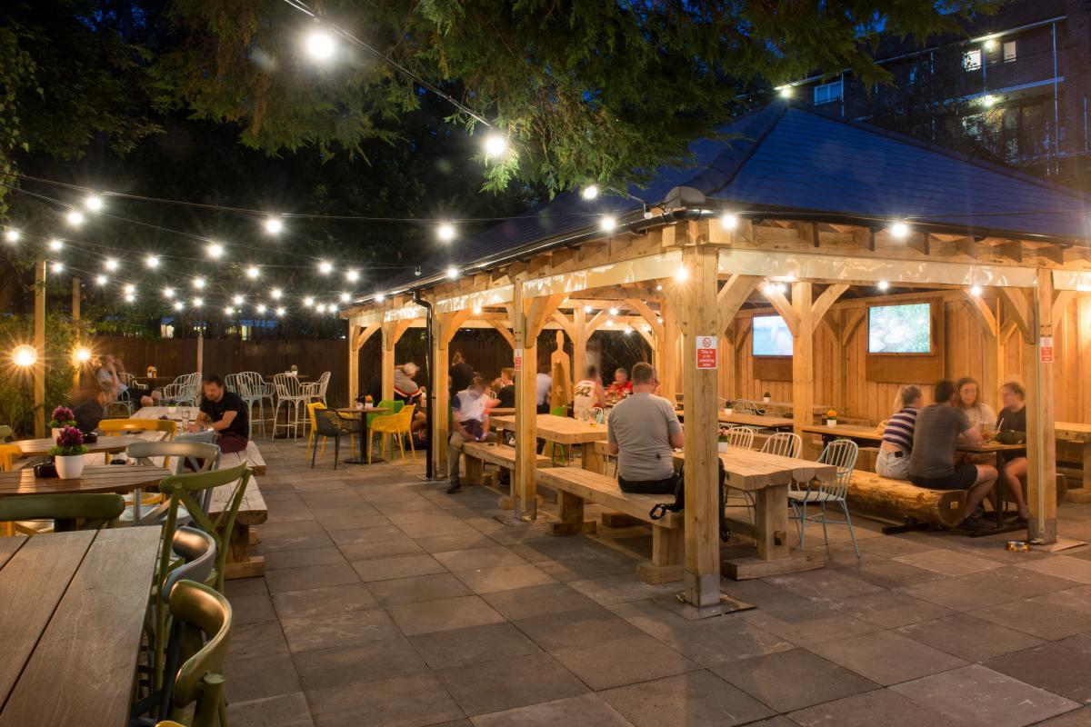 Wooden gazebo pub garden