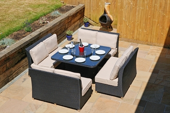 Classic Napoli 8 Seater Dining Set (Black Rattan)