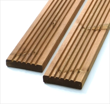Sample - Brown Standard Redwood Decking (120mm x 28mm)
