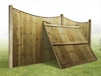 "Heavy Duty Curved Vertilap Featheredge Fence Panel (6ft x 6ft-5ft 6"")"