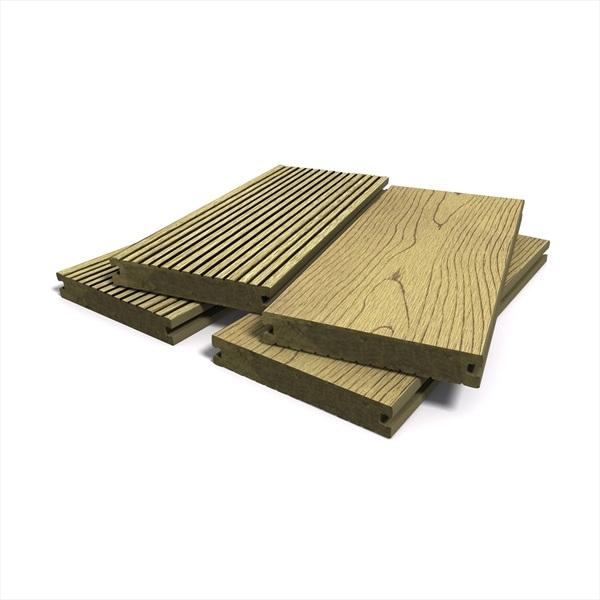 Teak bark effect solid composite decking 146mm x 21mm for 4m composite decking boards